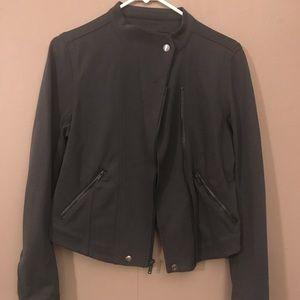 Grey Motorcycle Jacket - knit material